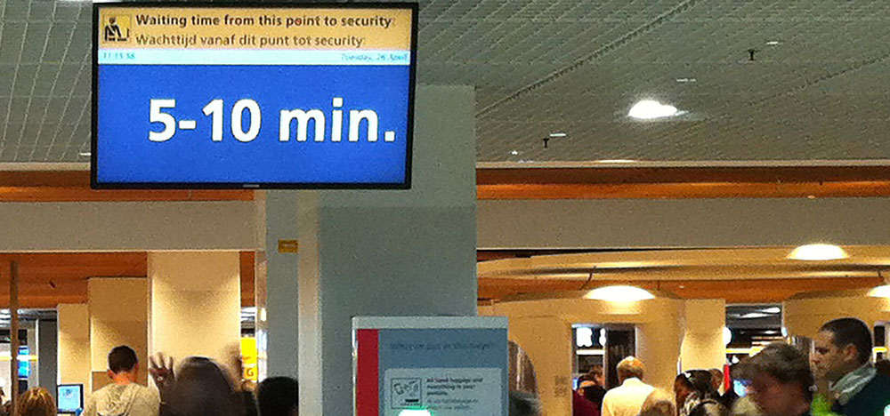 Amsterdam Schiphol Wait Time Sign Passenger Predictability