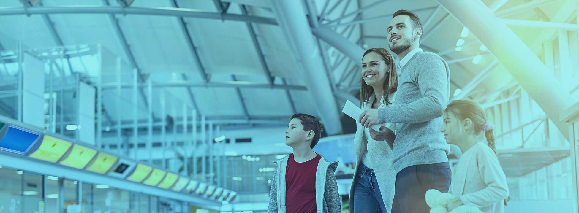 Family at departure airport passenger flow management